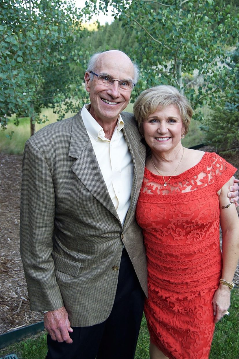 Rio Nights organizing committee members Bob and Linda Egan enjoy the fundraising event for the Edwards Interfaith Chapel and Community Center.
