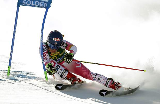 Mikaela Shiffrin, of Eagle-Vail, competes during the first run the World Cup giant slalom in Soelden, Austria, Saturday.