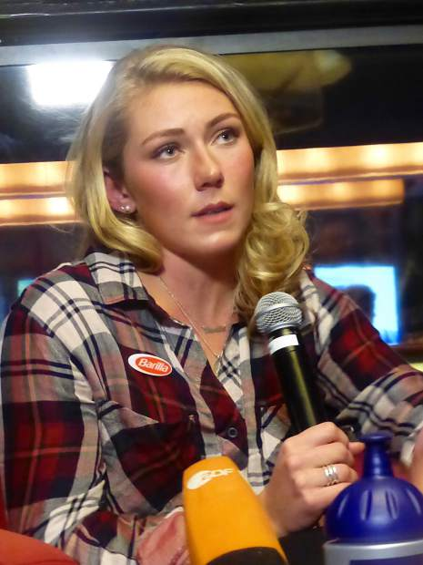U.S. skier Mikaela Shiffrin, of Eagle-Vail, speaks at a press conference before the race.