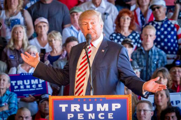 Presidential Candidate Donald Trump reacting to protestors during his rally in Grand Junction.