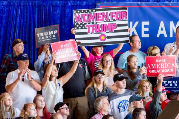 Supports of presidential candidate Donald Trump at the rally in Grand Junction on Tuesday afternoon.