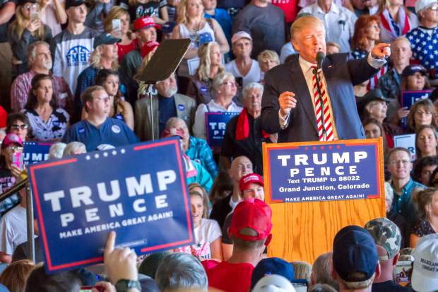 Presidential Candidate Donald Trump reacting to protestors during his rally in Grand Junction on Tuesday afternoon.