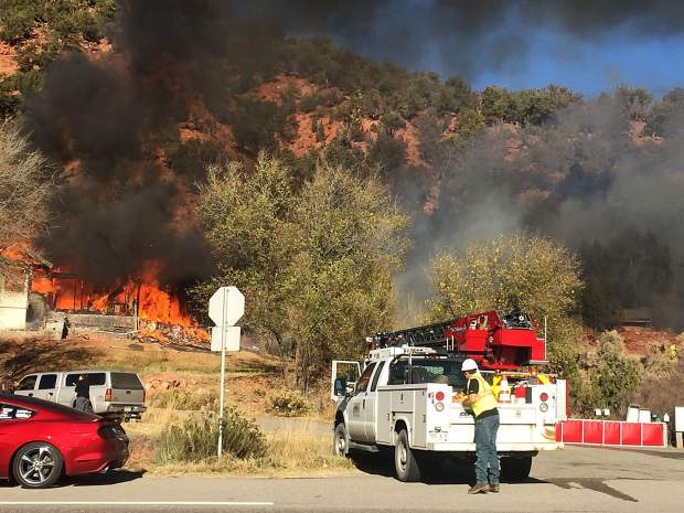 Firefighters responded to this blaze Friday afternoon at Colorado 82 and Spring Valley Road.