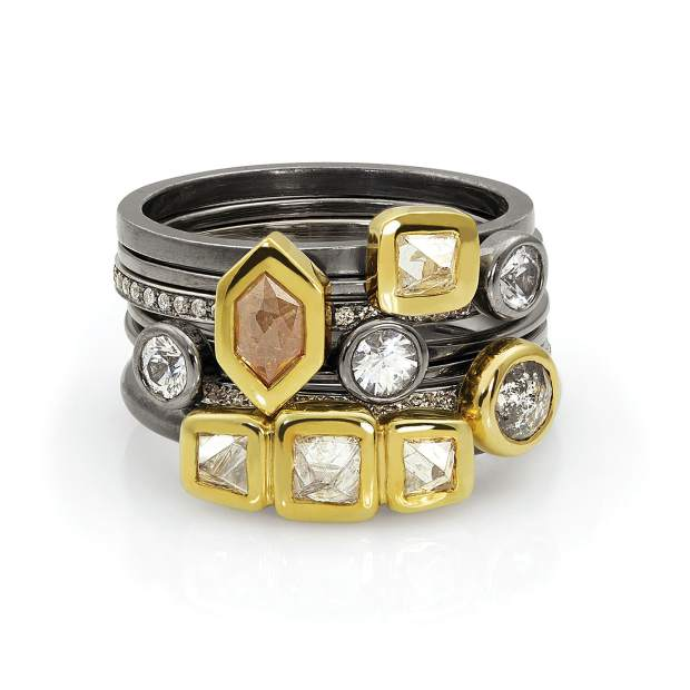 Ring Stack, 18-karat yellow gold and oxidized sterling silver; raw and natural-color diamonds, white sapphires.