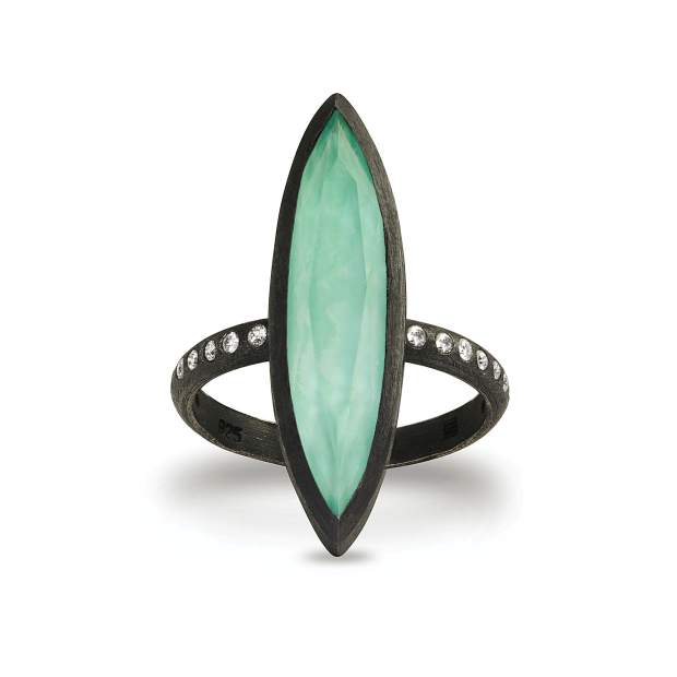 Cyprus Ring, oxidized sterling silver; turquoise and quartz doublet, fine white diamonds.