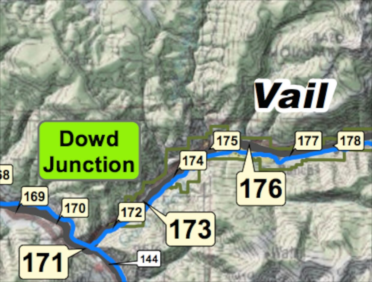 photo - Town of Vail map of mile marker locations along Interstate 70 in Eagle County.