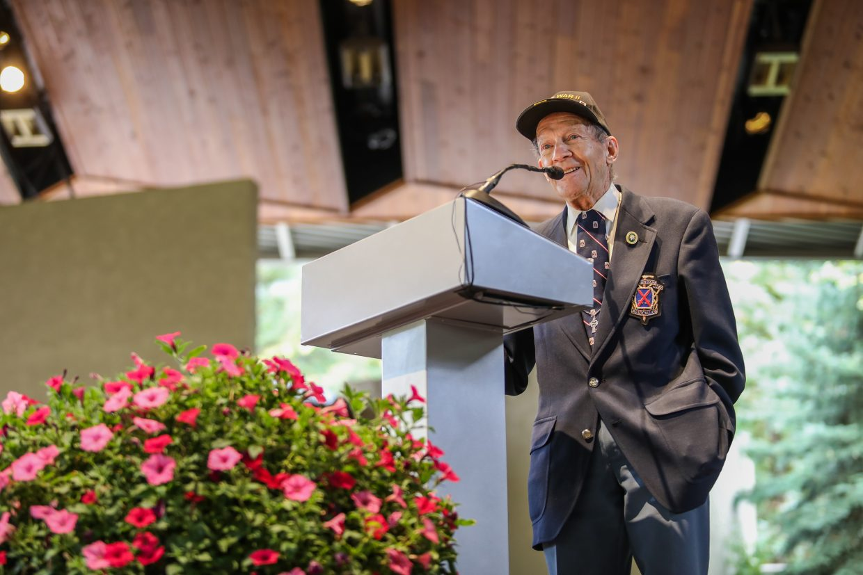 Dick Over, 93-year-old 10th Mountain Division veteran, speaks at Bob Parker's memorial Friday, Sept. 22, at Gerald R. Ford Amphitheater in Vail. Parker was influential in starting Vail and getting the world to notice it.