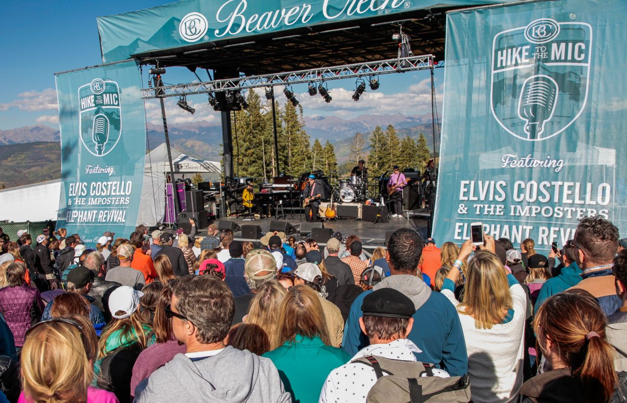 People gather for Elvis Costello and the Imposters for Hike to the Mic Saturday, Sept. 16, in Beaver Creek, Colo. Elephant Revival opened for Costello.