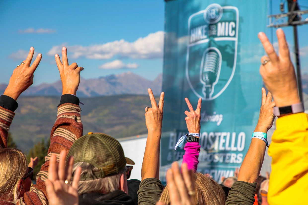 People raise their hands for Elvis Costello and the Imposters for Hike to the Mic Saturday, Sept. 16, in Beaver Creek. Elephant Revival opened for Costello.
