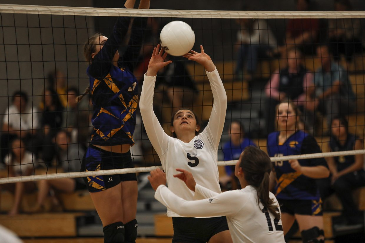 Vail Mountain School's Chloe Pesso sets the ball against North Park Thursday, Sept. 21, in East Vail. Vail Mountain School faces Rangely Saturday, Sept. 23, in East Vail.