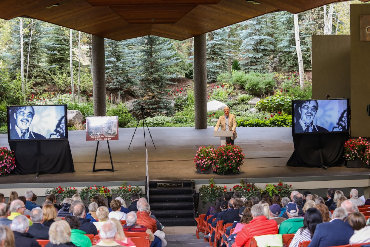 Bob Knous speaks at Bob Parker's memorial service Friday, Sept. 22, at Gerald R. Ford Amphitheater in Vail. Parker passed away June 29 in Grand Junction.