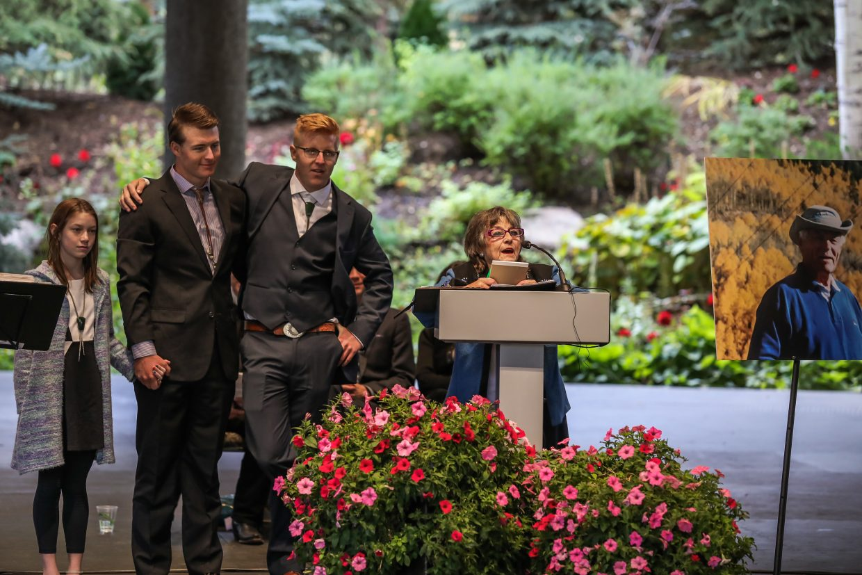 Vi Brown, Byron Brown's wife, speaks at his memorial Friday, Sept. 29, at Gerald R. Ford Amphitheater in Vail. Brown was a pioneer is helping Vail become what it is today.