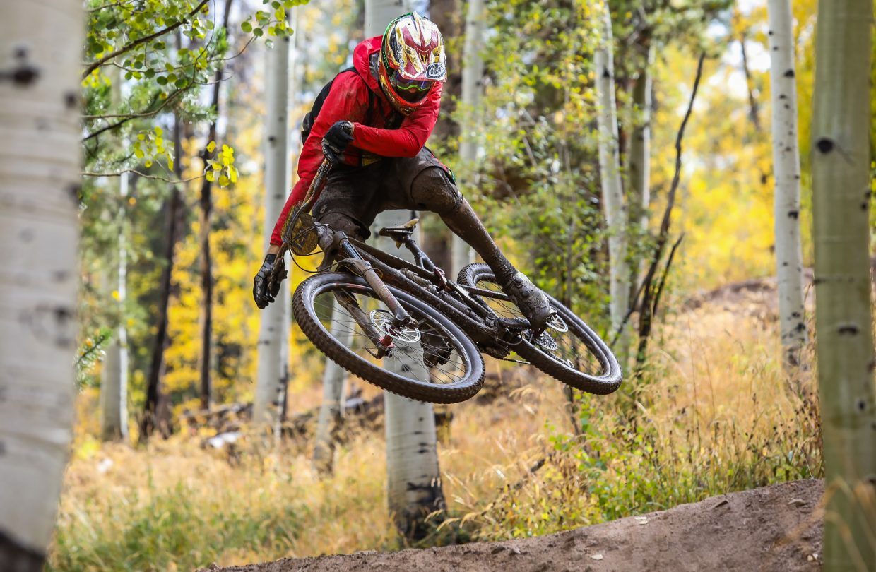 Adam Prosise launches a hit on Mane Lane trail during the Rockshox Enduro race of the Outlier Offroad Festival Sunday, Oct .1 in Vail. Weather cancelled the first leg of the enduro.
