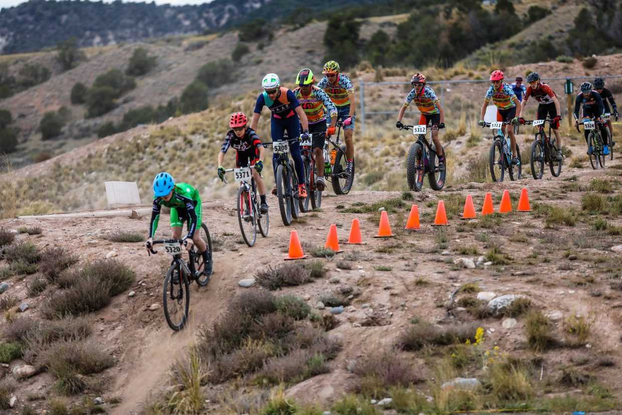 Racers make their way down an embankment during the cyclocross race Wednesday, Sept. 27, in Eagle. Next Wednesday will be the second of two Vail Recreation District cyclocross races in Eagle.