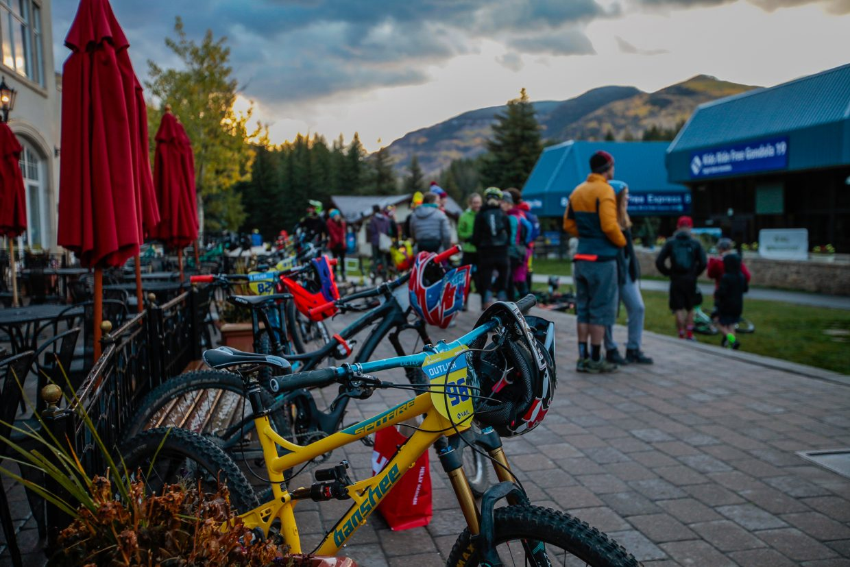 The sun rises as riders of the RockShox Enduro for the Outlier Offroad Festival Sunday, Oct. 1, in Vail. The first section was cancelled.