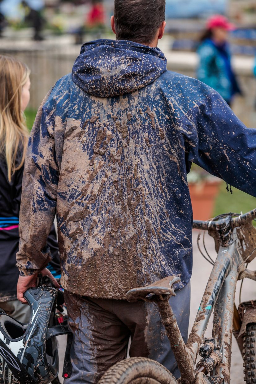 Muddy riders for the RockShox Enduro for the Outlier Offroad Festival Sunday, Oct. 1, in Vail.