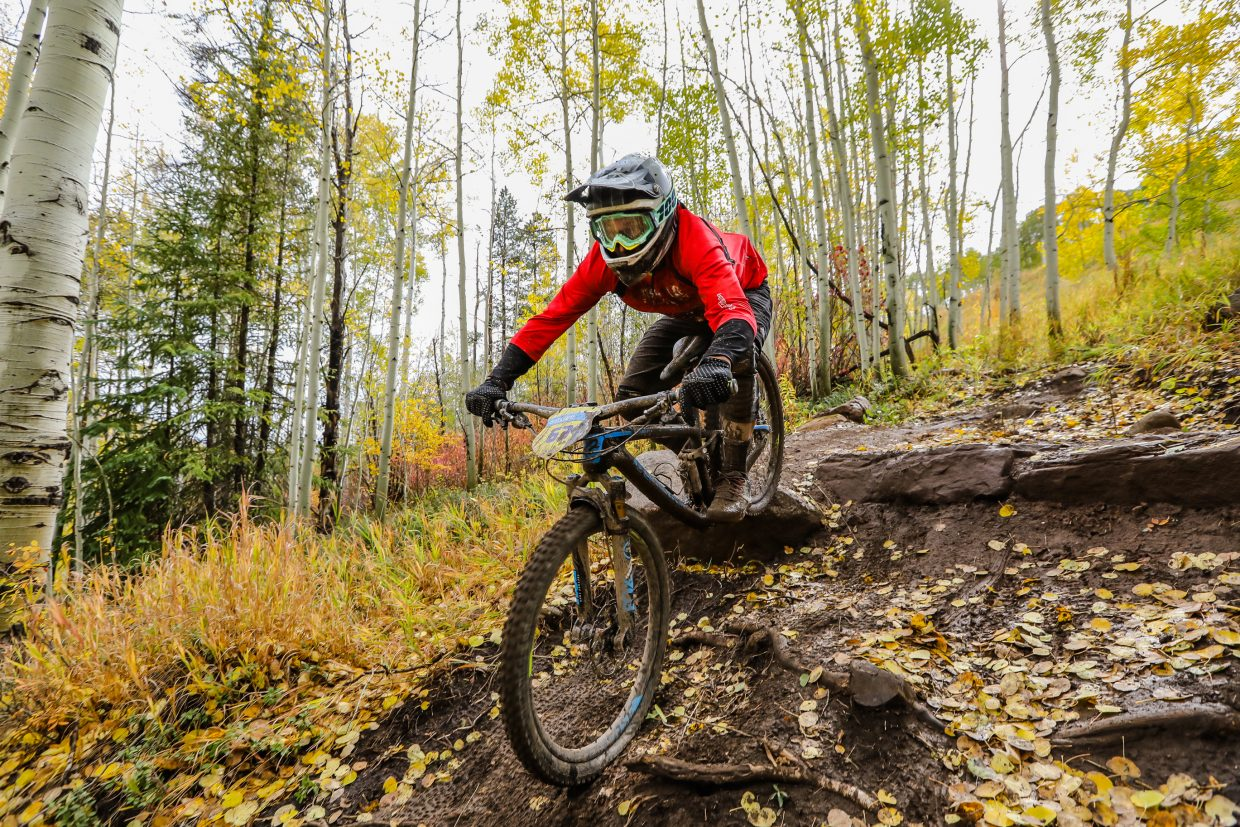 Robert Garcia rides a feature on Mane Lane trail during the Rockshox Enduro race of the Outlier Offroad Festival Sunday, Oct .1 in Vail.