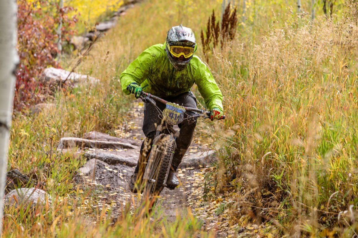 Ryan Baczurik flies down the flat seciton of Mane Lane trail during the Rockshox Enduro race of the Outlier Offroad Festival Sunday, Oct .1 in Vail.