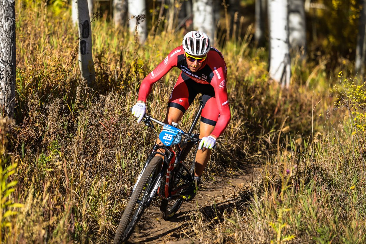 Todd Wells makes his way down Onza Alley during the Scott Spark XC during the Outlier Offroad mountian bike festival Saturday, Sept. 30, in Vail. Wells finished more than 30 miles in two hours and 12 minutes.
