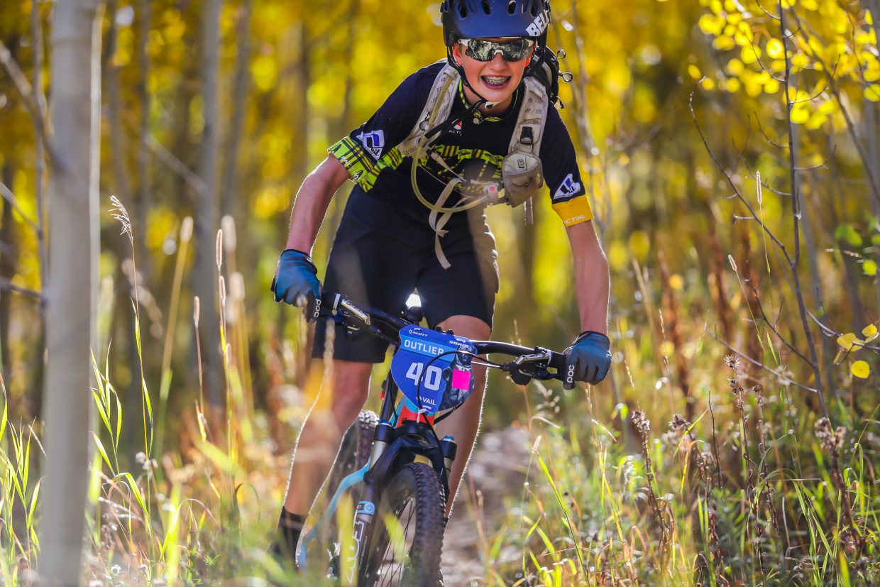 Aidan Duffy of Avon happily flies down Onza Alley for the Scott Spark XC for the Outlier Offroad Festival Saturday, Sept. 30, in Vail.