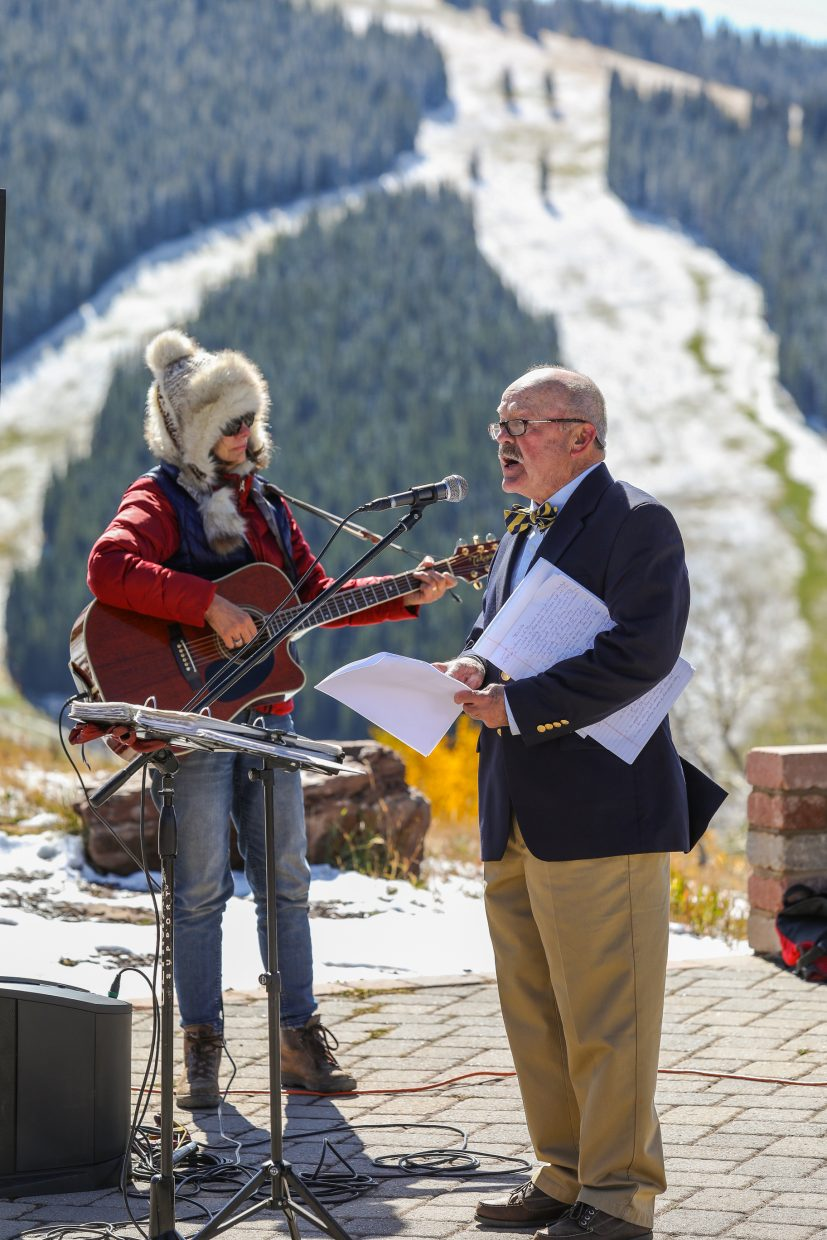 Buck Allen reads the names of those lost in the last five years who lived in Vail prior to 1983 during the Pioneer Weekend memorial Sunday, Spet. 24, at the top of Lionshead in Vail.
