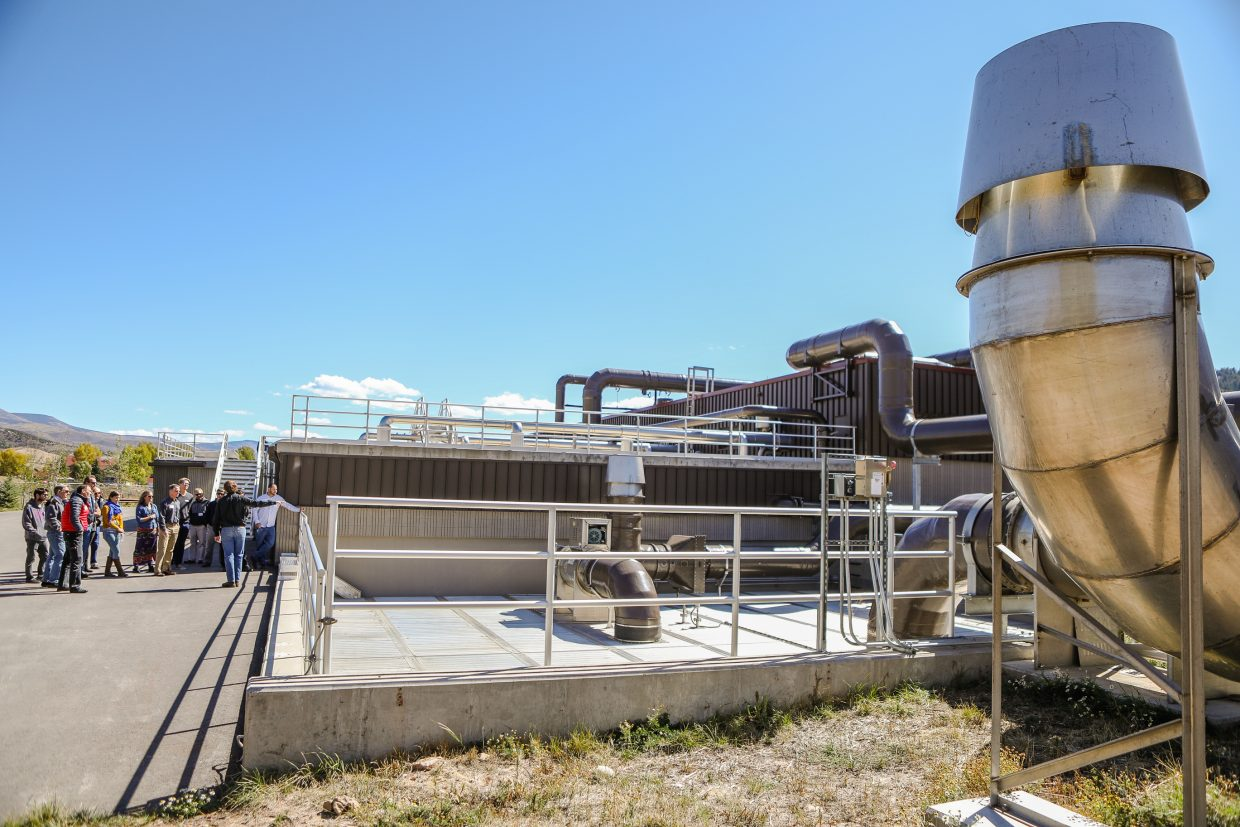 Byron Nelson with the Eagle River Water and Sanitation District gives a tour of the updated water treatment facility Tuesday, Sept. 26, in Edwards. The plant improved outdoor odor control using Photoionization Units.