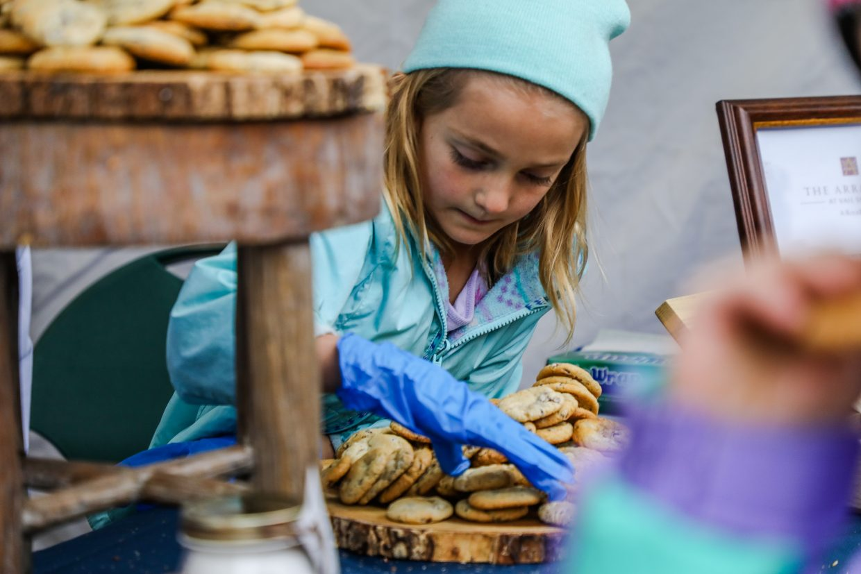 Avery Davis prepares more Arrabellicious Chocolate Chipper cookies during the annual World's Best Chocolate Chip Cookie Competition Wednesday, Nov. 22, in Beaver Creek.