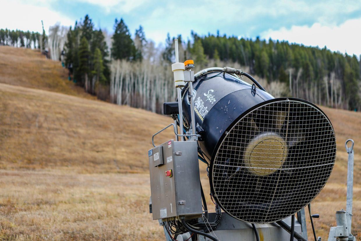 Snow guns sit waiting to blow snow Wednesday, Nov. 1, in Beaver Creek. A winter storm will arrive Saturday, Nov. 4, and could produce snow daily for four days according to Open Snow. Snow totals could reach two feet by Tueday, Nov. 7.