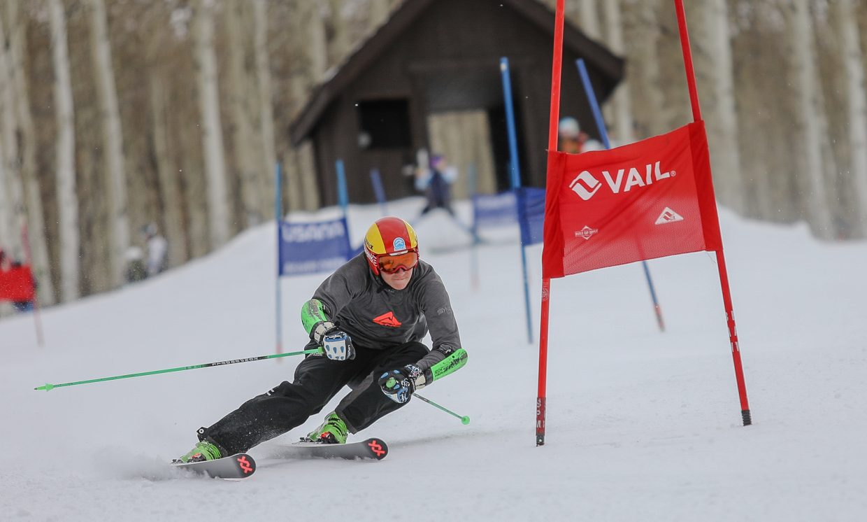 Gus LeBlanc makes his turns shortly after the start at the Golden Peak Training Center Monday, Nov. 20, in Vail.