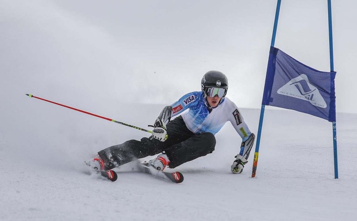 Ian Lynch gets low during training at the newly-opened Golden Peak Training Center Monday, Nov. 20, in Vail. The center was slow to open due to weather.