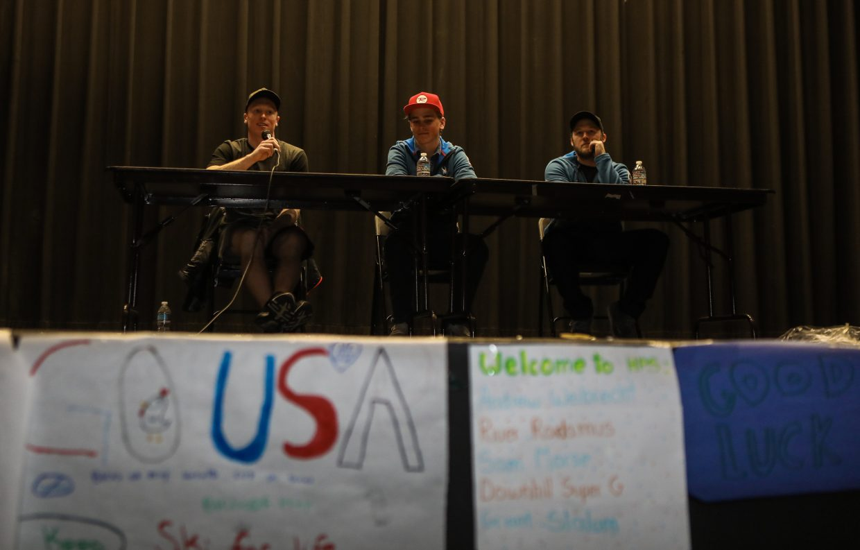 U.S. Ski Team members talk to students from Homestake Peak Elementary School during Birds of Prey week Wednesday, Nov. 29, in Eagle-Vail. The skiers were brought through the Vail Valley Foundation and YouthPower365.