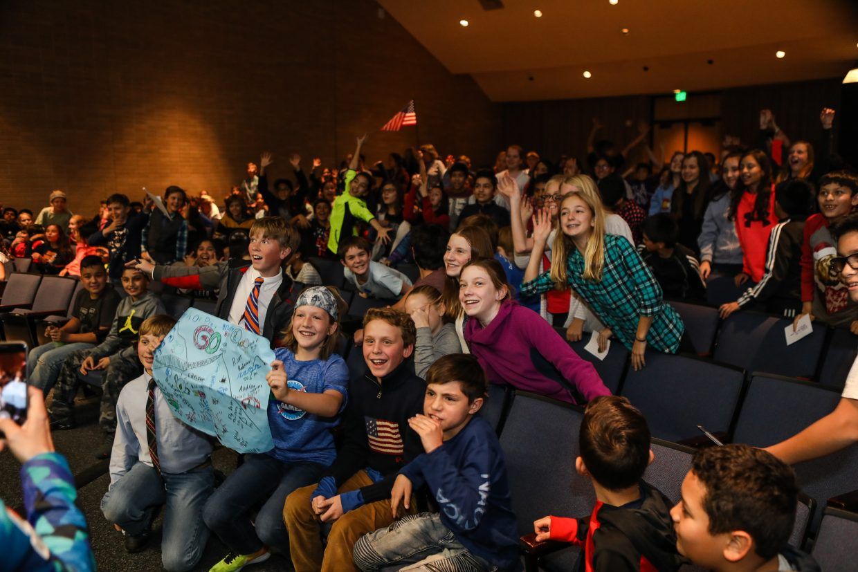 Students from Homestake Peak cheer on members from the U.S. Ski Team Wednesday, Nov. 29, in Eagle-Vail. The kids were excited to meet three members of the ski team.
