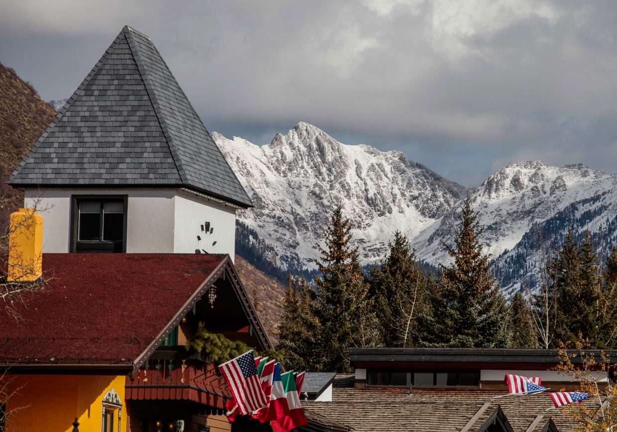 The Gore Range with new snow on it Tuesday, Oct. 31, in Vail.