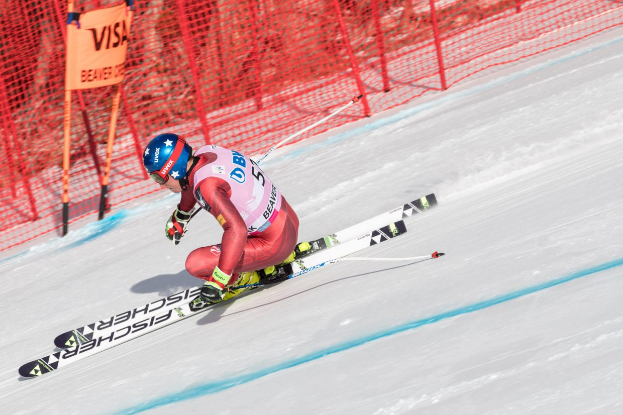 Sam Morse, of the United States, takes a his first lap through the Brink section during the first day of training for the World Cup ski race Wednesday in Beaver Creek.