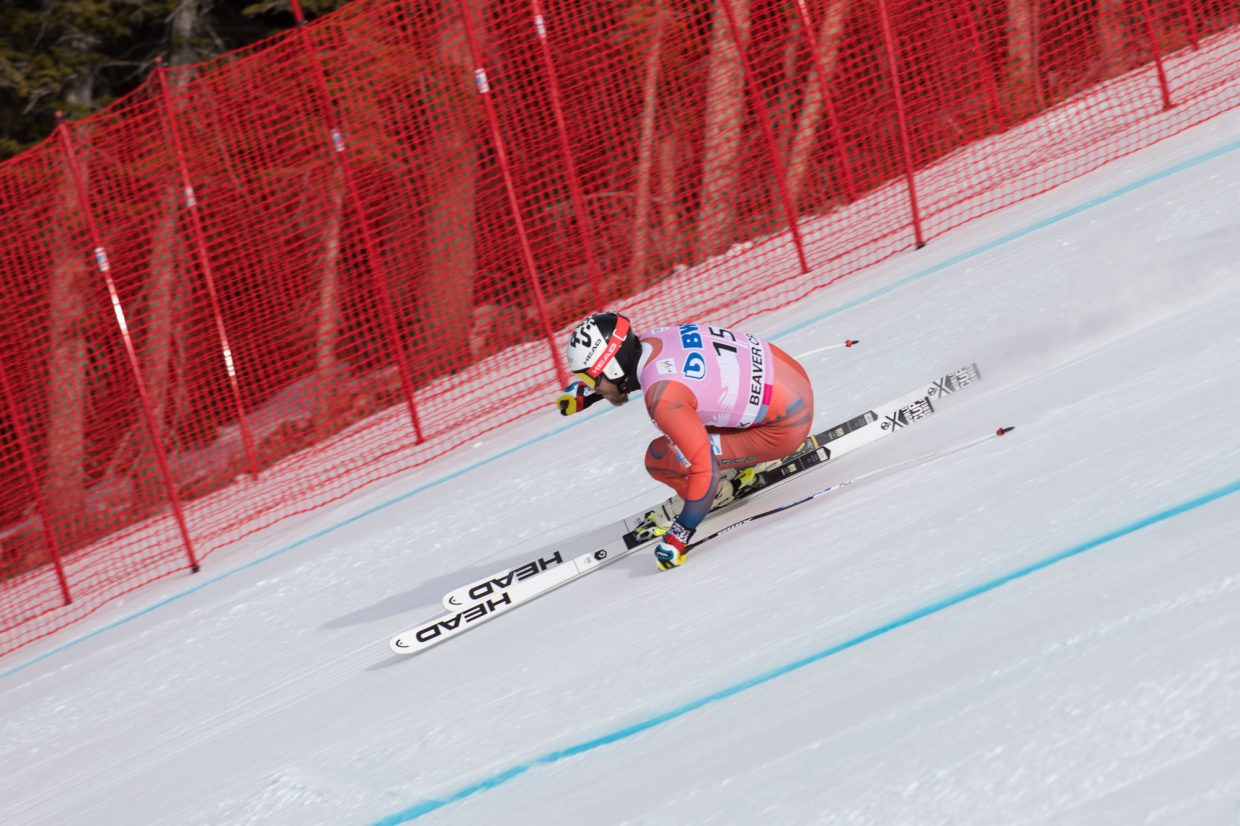 Kjetll Jansrud, of Norway, takes a corner while flying through the Brink section during the first day of training for the World Cup ski race Wednesday in Beaver Creek.