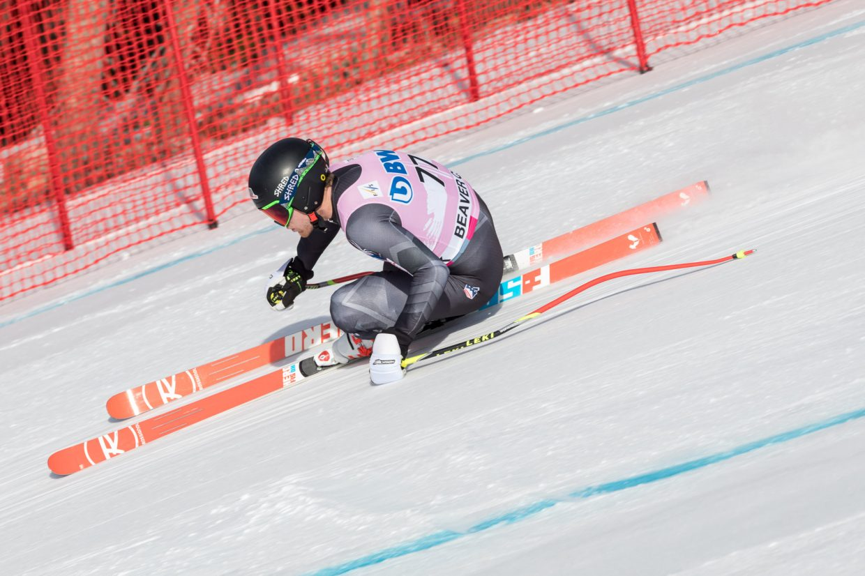 Ryan Cochran-Siegle, of the United States, takes a his first lap through the Brink section during the first day of training for the World Cup ski race Wednesday in Beaver Creek.