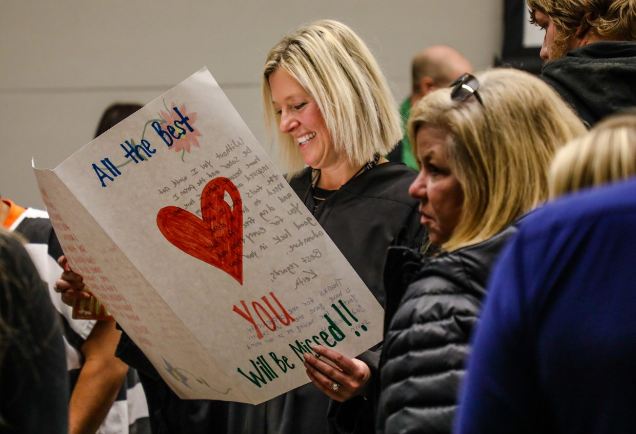 Judge Katherine Sullivan reads a card saying she will be missed at her farewell on Wednesday, Dec. 20, in Eagle. Sullivan will be moving to Washington D.C. to further her career helping people. She has tried around 45,000 cases in her 11 years at Eagle County.