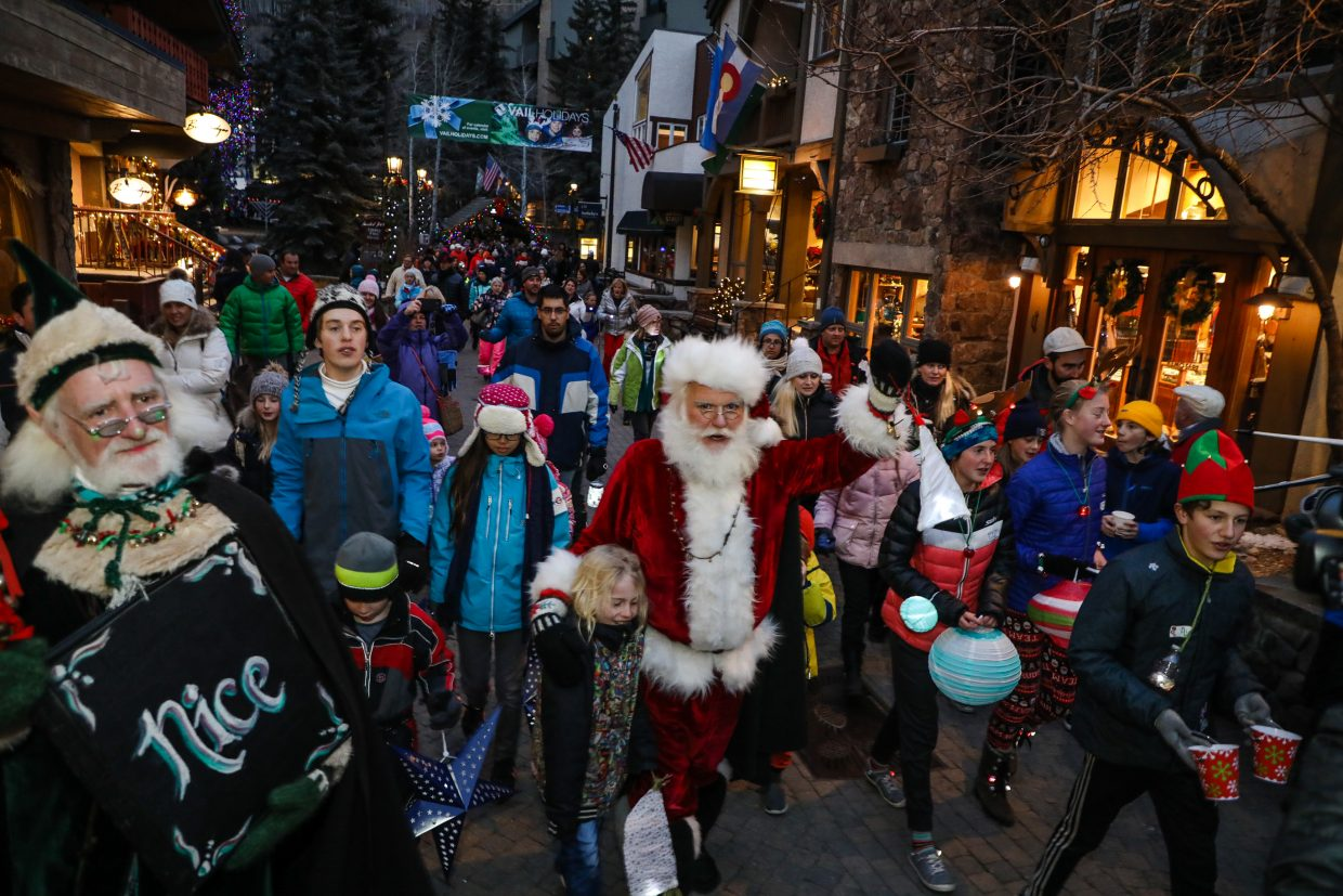 Santa leads the Holiday Lantern Walk on Friday, Dec. 22, in Vail. The Big Man visted with kids and listened to last-minute gift requests.