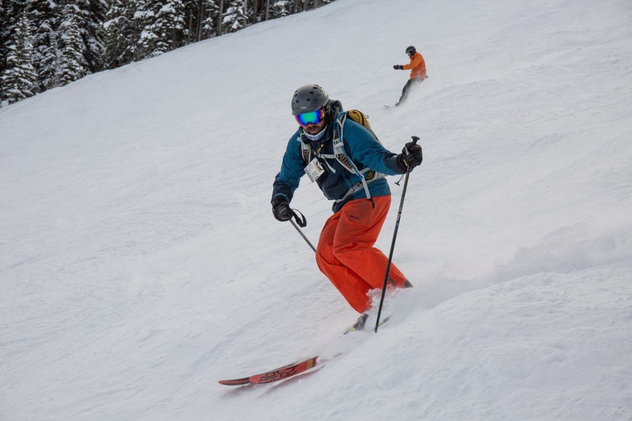 Talons challengers head down the mountain to complete 14 black and double black runs totalling over 26,000 feet on Saturday at Beaver Creek.