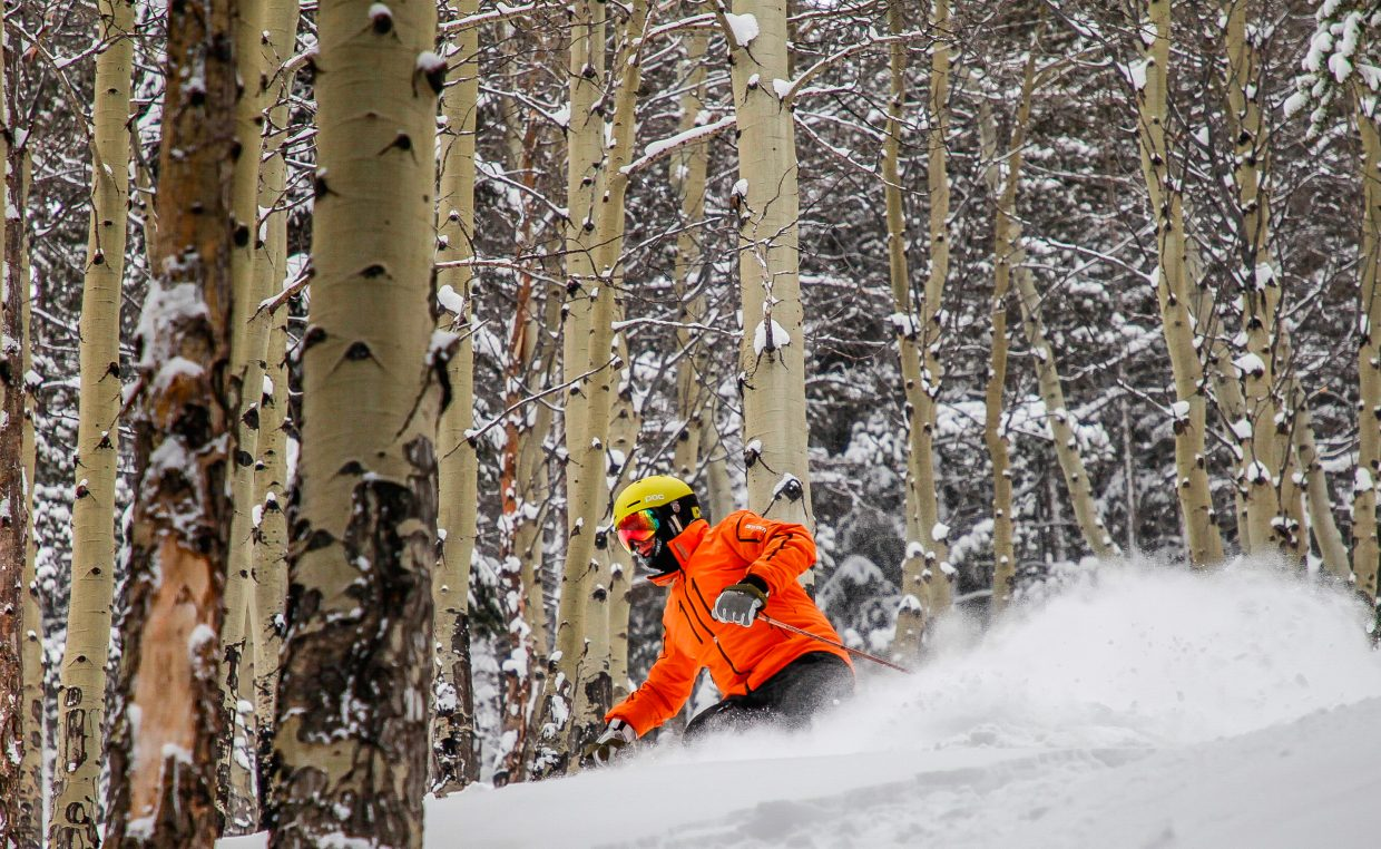 Jim Liken gets fresh in Royal Elk Glade on Tuesday, Feb. 20, in Beaver Creek. More snow is forecasted through the weekend.