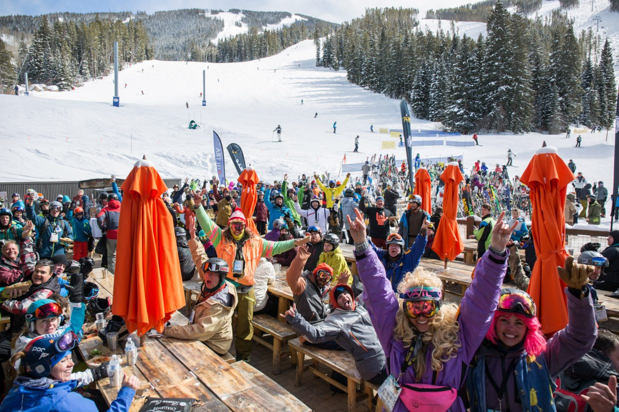 Talons challengers celebrate finishing the Tallons Challenge at Beaver Creek, Saturday. The challenge consists of 14 black and double black diamond runs, totalling over 26,000 vertical feet.
