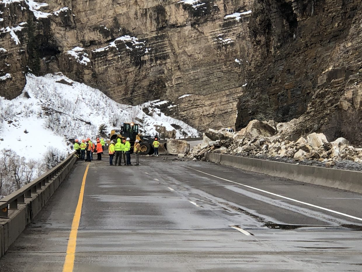 Colorado Department of Transportation crews were working to clear the rockslide early Tuesday.