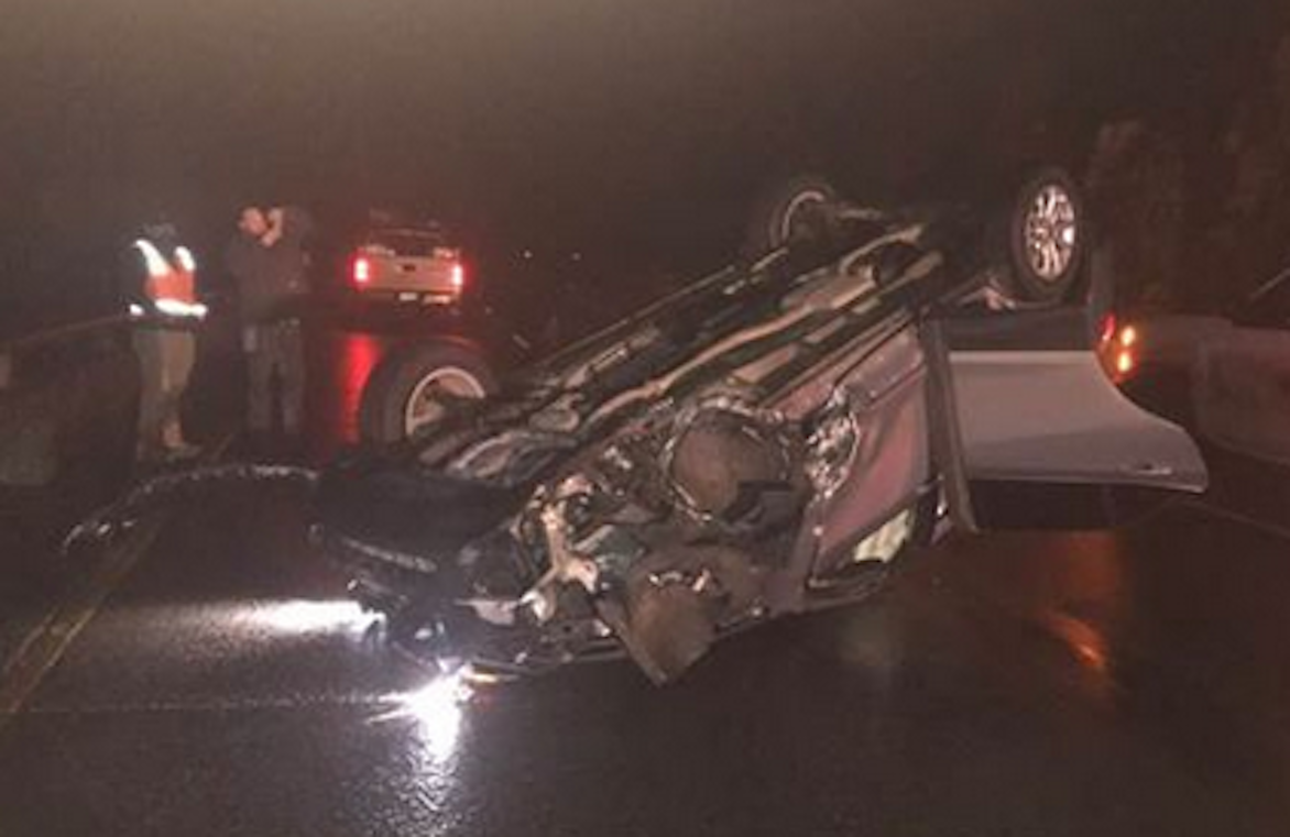 Vail's Bob Dorf walked away from this wreck with a cut finger and a broken fingernail. He collided with a boulder that fell onto I-70 in Glenwood Canyon Monday evening.