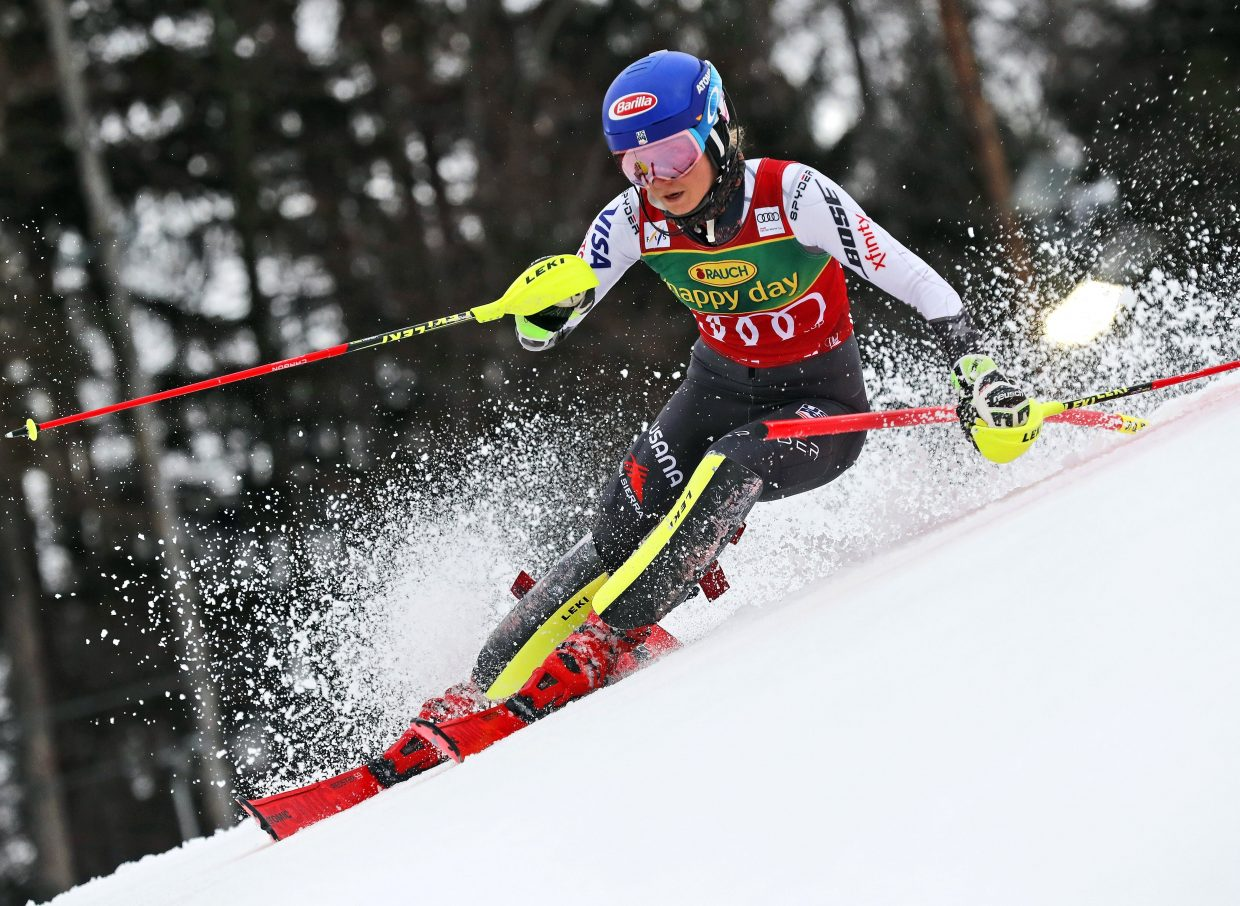 Mikaela Shiffrin speeds down the course on her way to winning the World Cup slalom, in Maribor, Slovenia, on Saturday. That's Shiffrin's 56th win, which moves her ahead of Switzerland's Vreni Scheinder for third place of the all-time list on women's World Cup list.