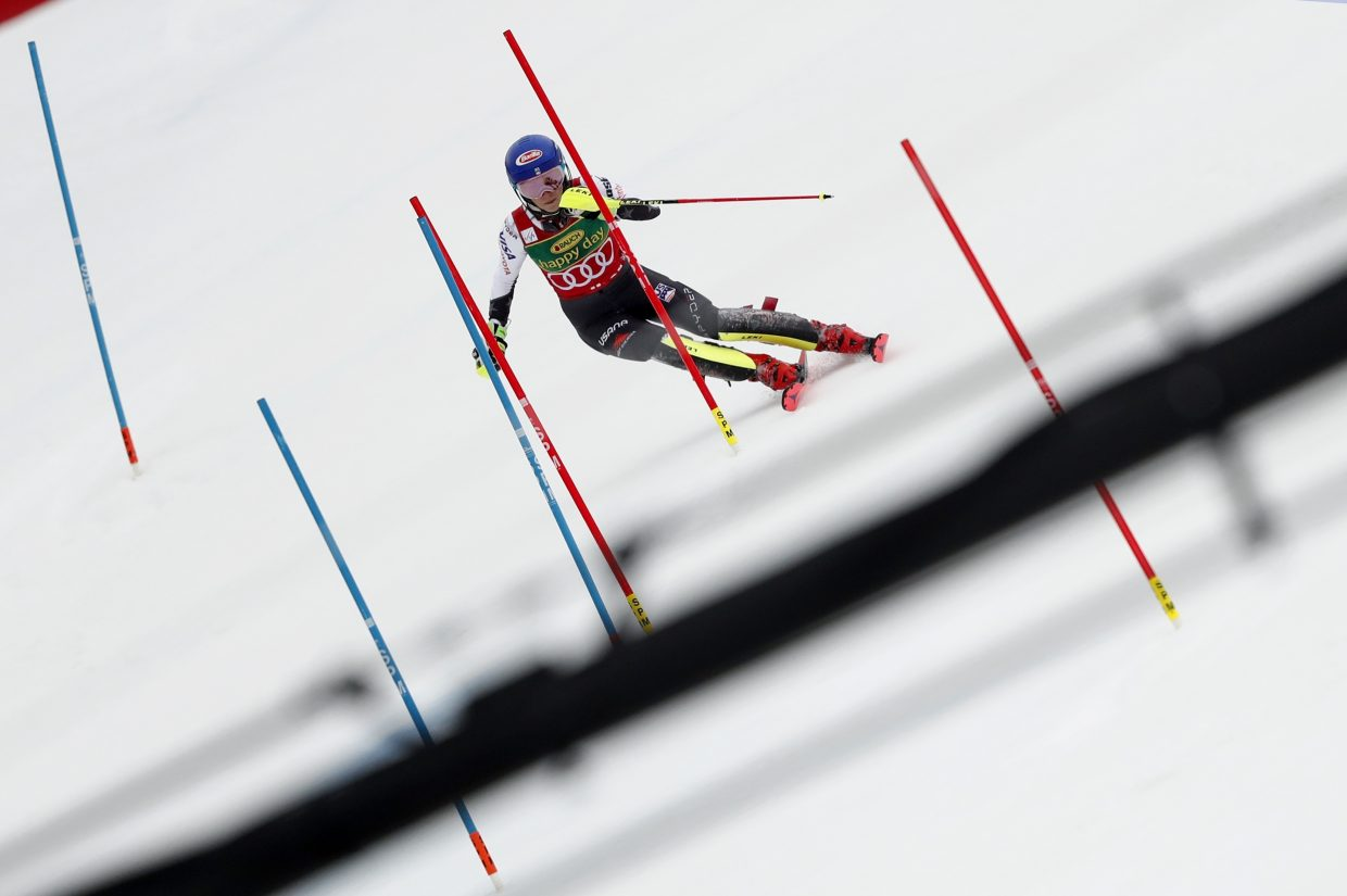 Mikaela Shiffrin makes her way during tje women's World Cup slalom, in Maribor, Slovenia, on Saturday, winning by 0.77 seconds.