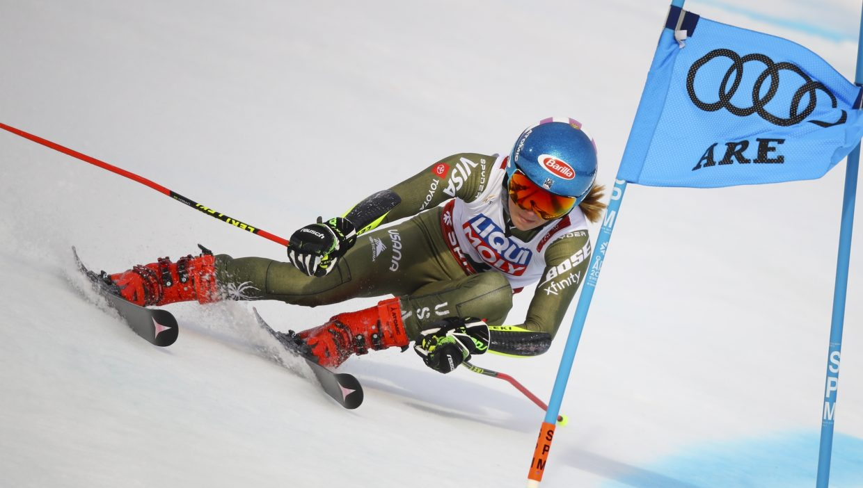Mikaela Shiffrin skis to fourth place after the first run of FIS Alpine World Ski Championships giant slalom in Are, Sweden on Thursday. Shiffrin took third place for her second medal of the championships.