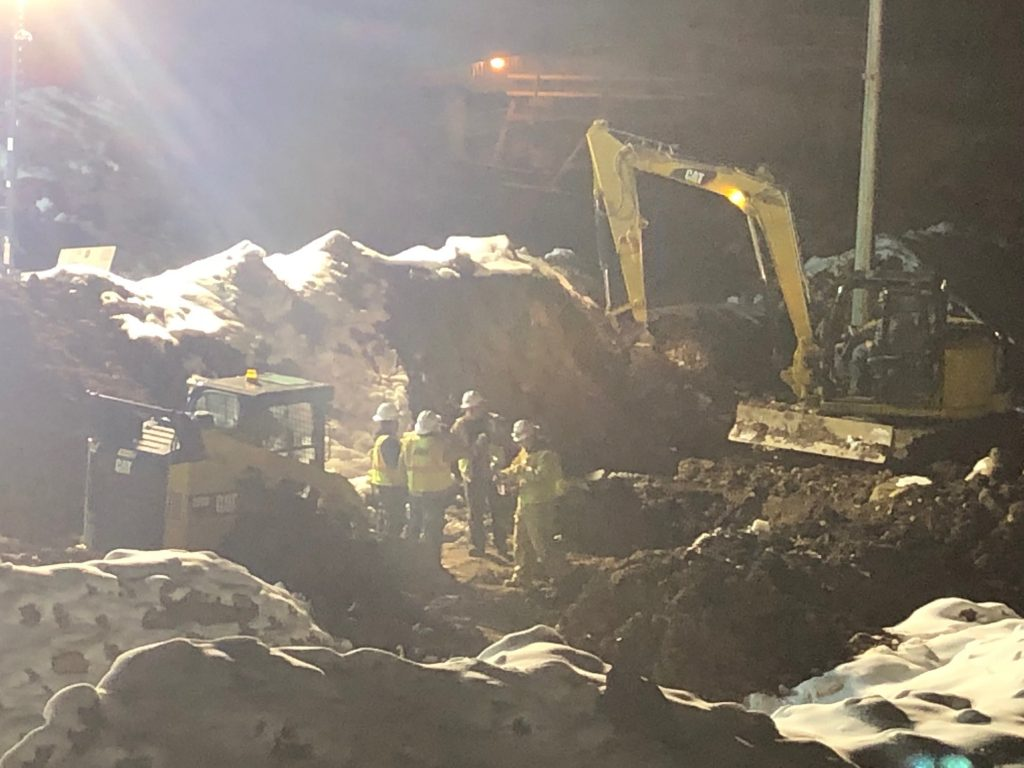 A crew works to fix the natural gas leak in Edwards on Thursday night.