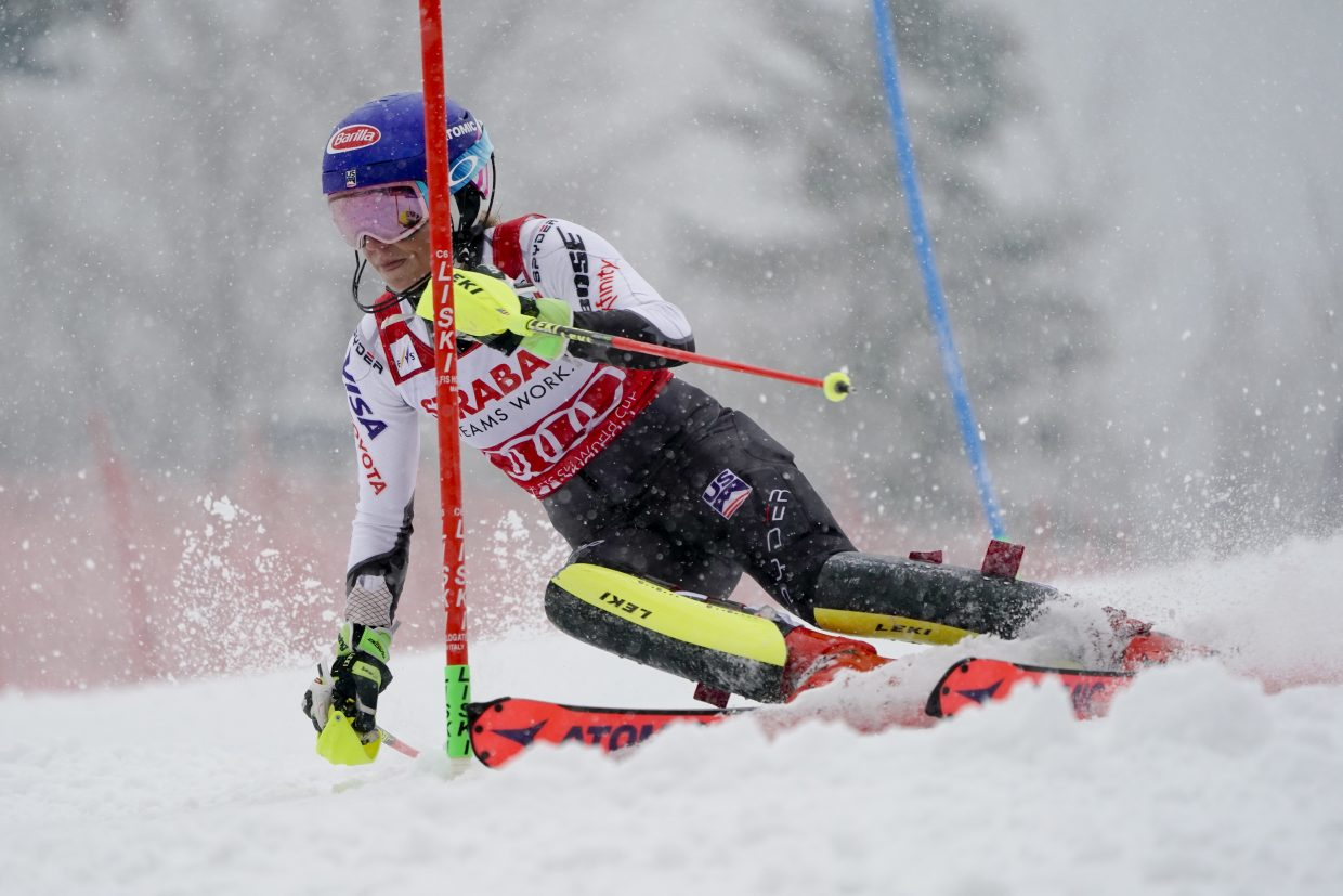 Mikaela Shiffrin gets down to business, winning Saturday's World Cup slalom in the Czech Republic. Shiffrin rolled to a 0.85-second victory over Switzerland's Wendy Holdener.