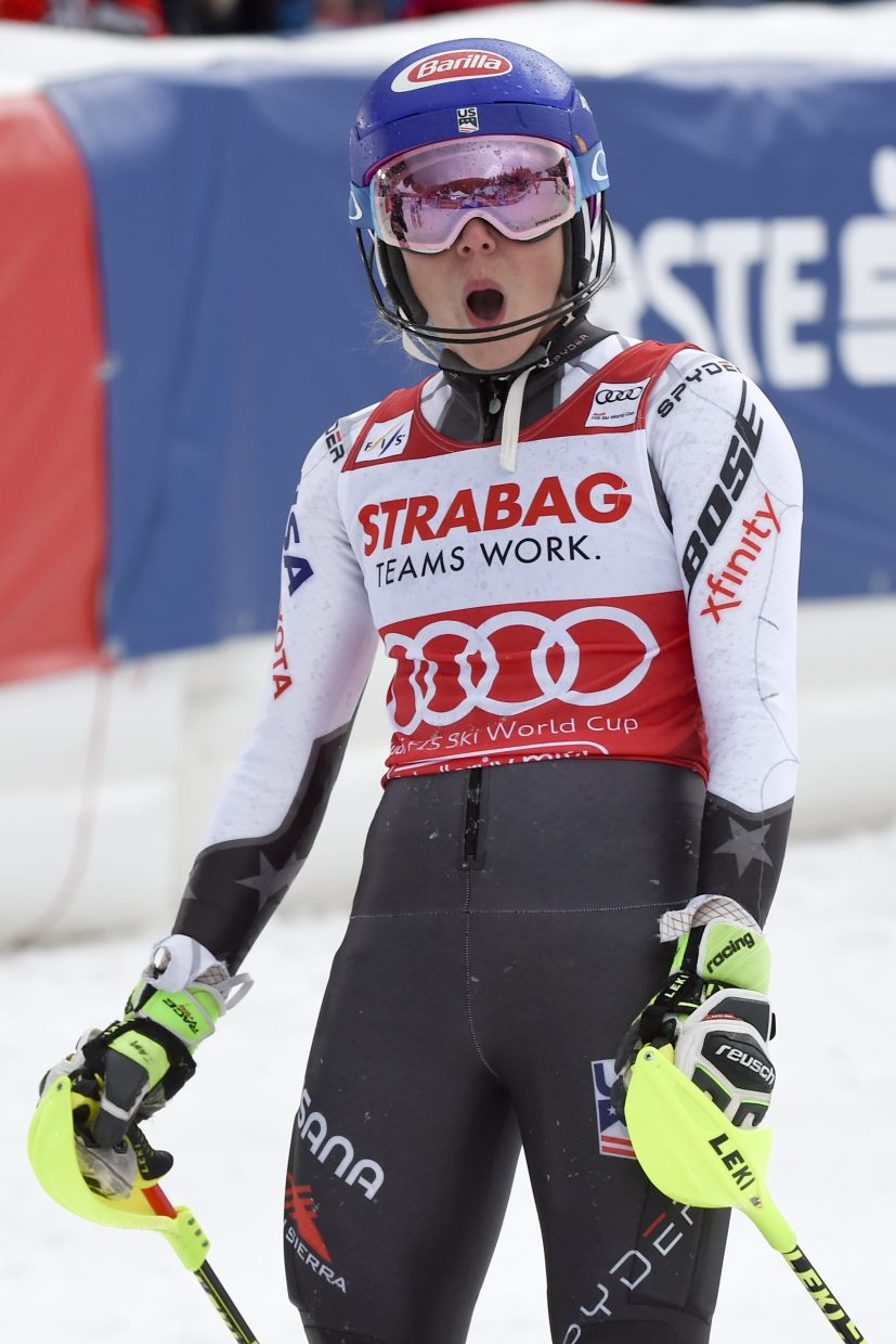 Mikaela Shiffrin sees she's in the green numbers after crossing the finish line on Saturday. In addition to record 15 World Cup wins this season, she also has two victories at the FIS Alpine World Ski Championships.