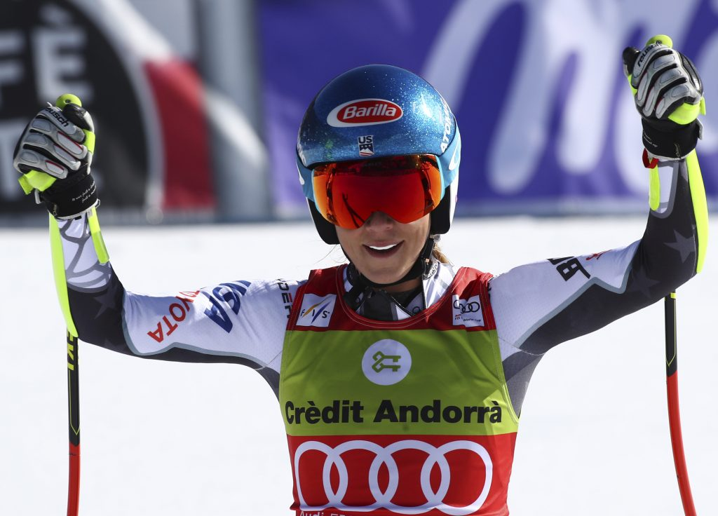 United States' Mikaela Shiffrin reacts after competing in the World Cup finals super G in Soldeu, Andorra, on Thursday. In addition to winning a super-G globe, Shiffrin became only the third athlete to earn 2,000 points during a single season.